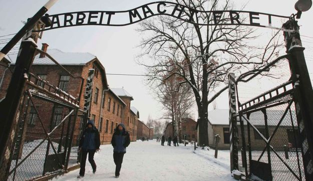 The entrance to the former Nazi death camp of Auschwitz