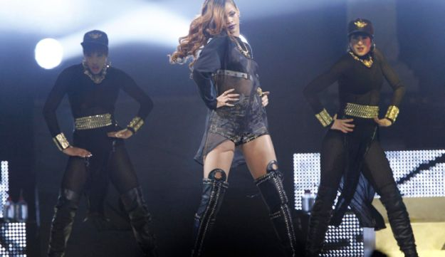 Singer Rihanna performs at the Staples Center in Los Angeles, California April 8, 2013.