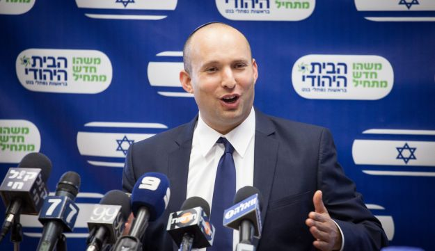 Bennett at a party faction meeting.