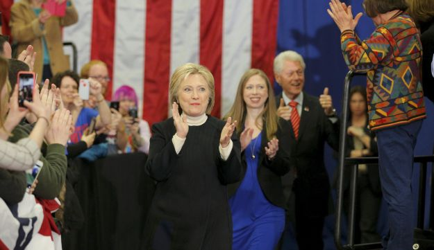 Hillary Clinton with her family after the New Hampshire primary, Feb. 9, 2016.
