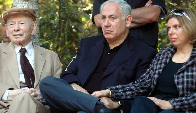 Netanyahu and his wife Sara with father Benzion at memorial commemorating 30 years since Entebbe