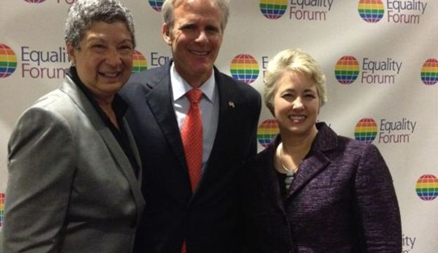 Israel's Ambassador to the U.S. Michael Oren with Annise Parker