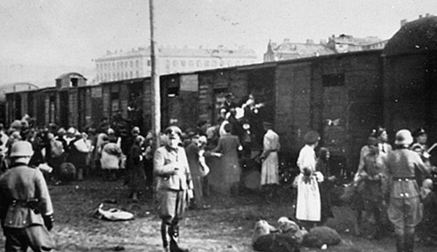Jews loading onto trains at the Umschlagplatz, Warsaw.