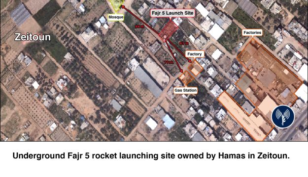 A map of underground rocket sites attacked by IDF.