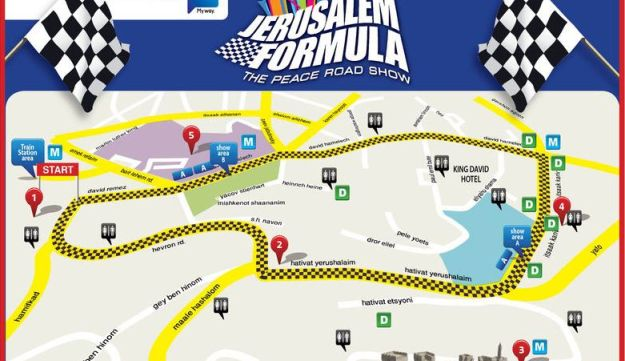 Route of Formula One show in Jerusalem.