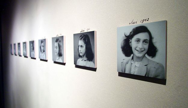 Photos of Anne Frank during an exhibit at The U.S. Holocaust Memorial Museum in Washington, DC.