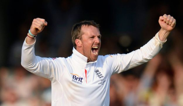 England's Graeme Swann celebrates after his team won the second Ashes cricket test match against Aus