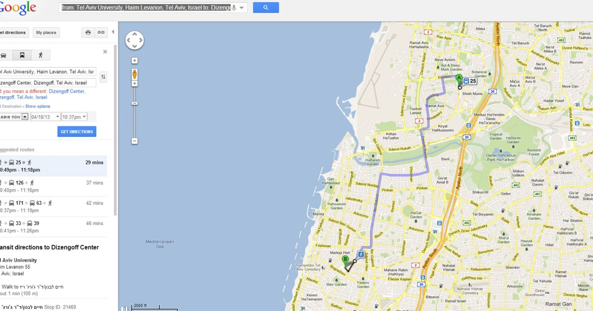 Google Maps now offers transit directions in Israel - Travel ... on