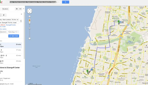 Google Maps now offers transit directions in Israel - Travel in ...