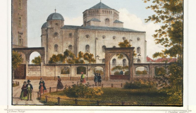 A picture of Dresden's 'Semper Synagogue,' which was destroyed during the Kristallnacht pogrom