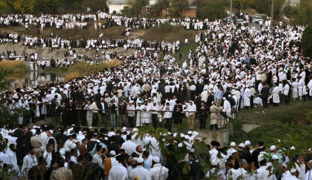 This 2004 file photo shows Jewish pilgrims at the grave of Rabbi Nachman of Breslov in Uman.