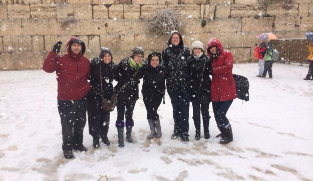 Female and male HUC students on the male side of the wall during the snow storm in Jerusalem
