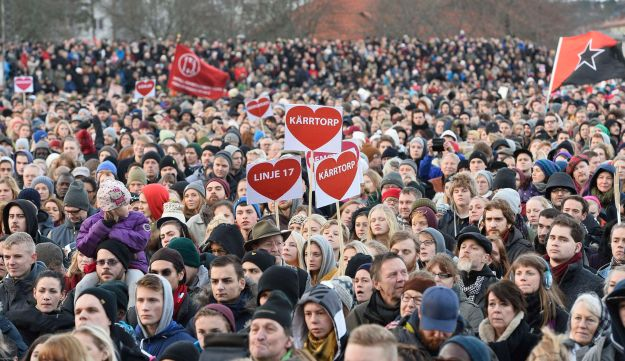 An anti-racism protest in the Swedish suburb of Karrtorp, Dec. 22, 2013.