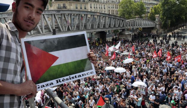Man with Palestinian flag placard, as protesters gather in Paris, France, July 19, 2014.