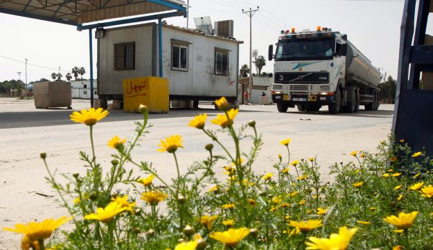 A truck delivering fuel enters the Gaza Strip.