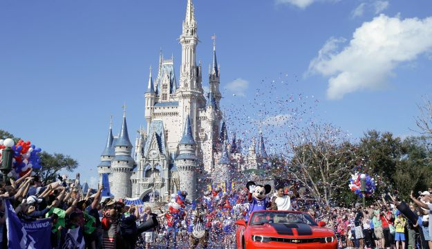 A parade at Walt Disney World with Mickey Mouse.