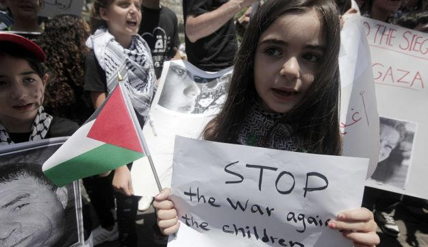 Palestinian girl at a demonstration in support of the children of the Gaza Strip.
