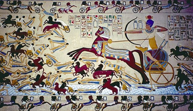 Egyptian wall art showing Ahmose defeating the Hyksos.