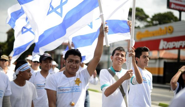 A pro-Israel rally is held during Israel's military campaign in Gaza, in the streets of Guatemala Ci