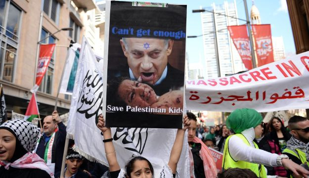 A rally in Sydney against Israel's military campaign in Gaza on, August 3, 2014.