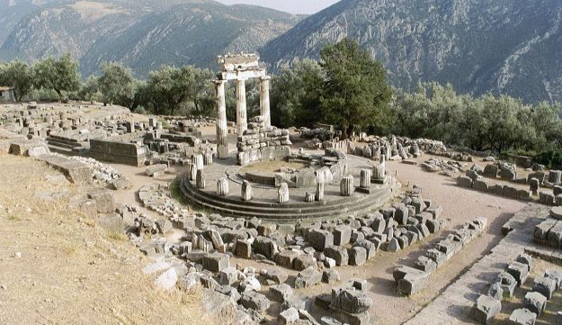 The Delphic Tholos, a circular building that was constructed between 380 and 360 BC at Delphi.