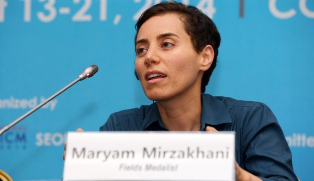 Maryam Mirzakhani at a press conference after the awards ceremony for the Fields Medals