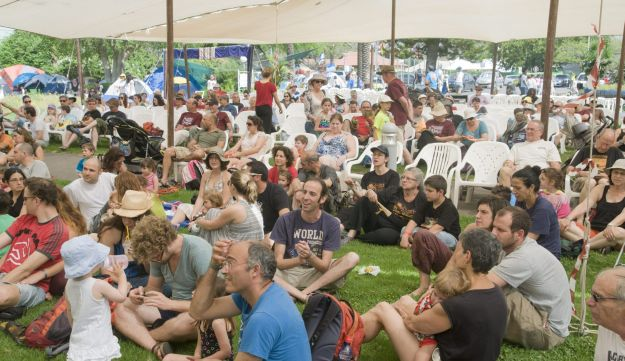 Festival-goers of all ages enjoying a show at Jacob's ladder, in 2013.