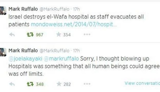 Mark Ruffalo tweets about the Gaza war.