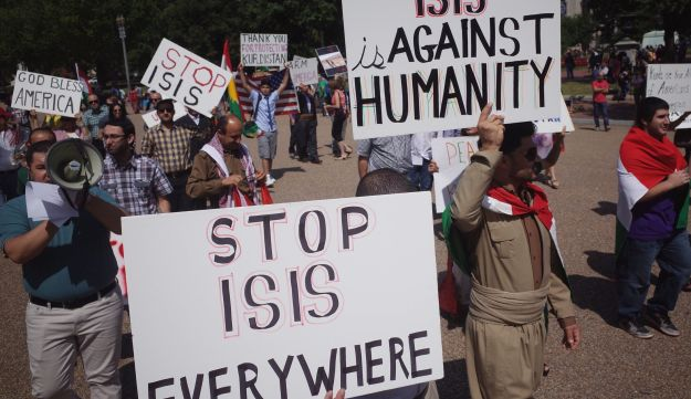 A rally against the Islamic State (IS) in front of the White House.