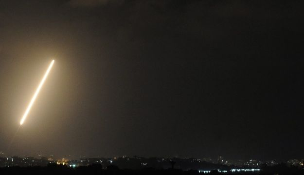An Aug. 21, 2014 file photo of a light trail made by a rocket fired from the Gaza Strip into Israel.