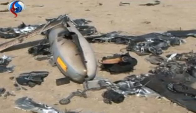 Iran's Al Alam news channel shows what it claims is a downed Israeli Hermes spy drone.