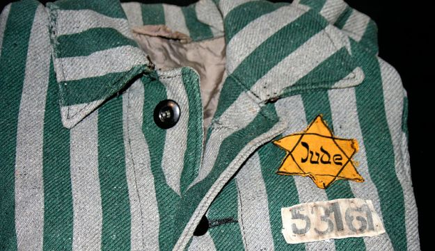 A part of a uniform worn by prisoners in Auschwitz, marked with a Star of David.