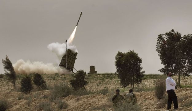 An Iron Dome anti-rocket defense battery in action near the Gaza Strip.