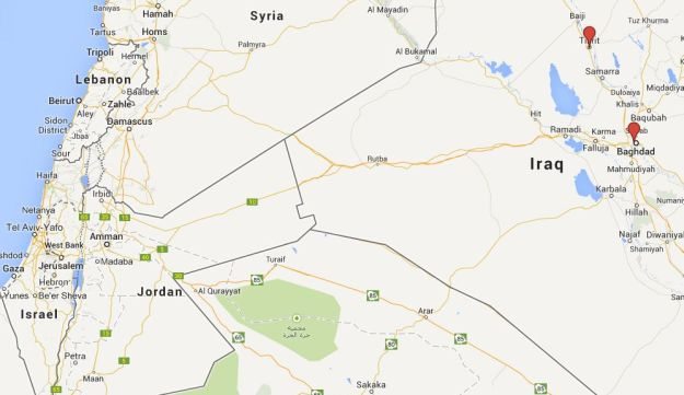 Map of Mideast, Baghdad and Tikrit marked in red