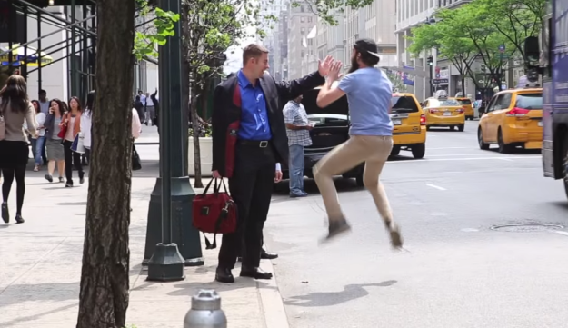Meir Kalmanson high-fives New York in YouTube video.