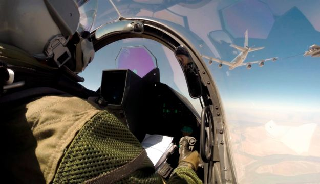 A French Rafale fighter jet over Iraq.