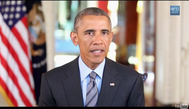 U.S. President Barack Obama makes a Rosh Hashanah greeting in a YouTube clip posted Sept. 24, 2014.