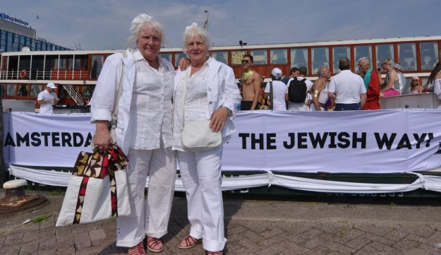 Louise, left, and Martine Fokkens at the Amsterdam gay pride parade, Aug. 2, 2014.
