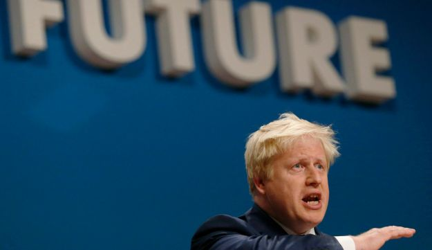 London Mayor Boris Johnson speaks at the Conservative Party Conference in Birmingham