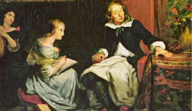 """John Milton dictating """"Paradise Lost"""" to his daughters, painting by Eugene Delacroix, ca. 1826."""