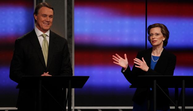 Democratic U.S. Senatorial Candidate Michelle Nunn and Republican rival David Perdue.