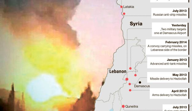 One of the attacks near Damascus yesterday, and Israeli attacks over the past two years