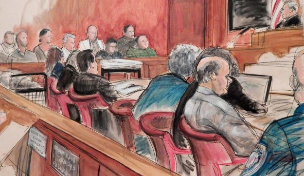 Courtroom sketch of Pedro Hernandez trial in the case of Etan Patz, April 27, 2015.