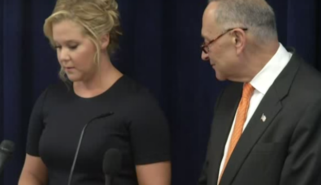 Screenshot of U.S. Sen. Chuck Schumer of New York joining his cousin, comedian Amy Schumer, to launch a campaign for gun control.