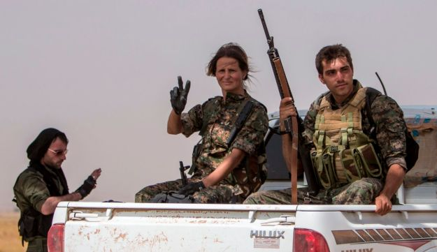 Fighters loyal to the Kurdish People's Protection Units.