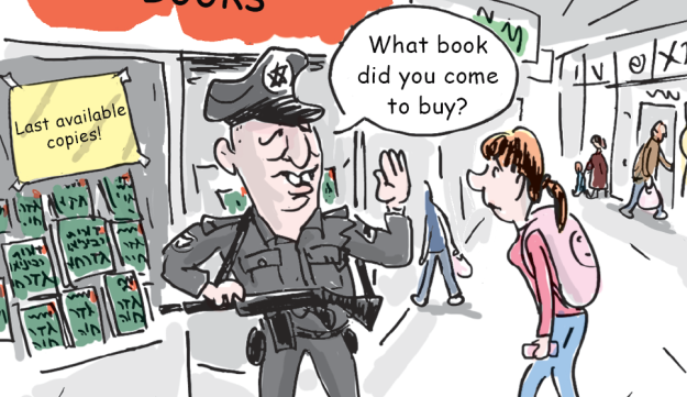 Illustration depicting Education Minister Naftali Bennett as a policeman appearing to stop a high school student from buying a book.