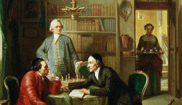 The German playwright Gotthold Ephraim  Lessing and theology student Johann Kasper Lavater as guests in the home of Moses Mendelssohn. Painting by Moritz Daniel Oppenheim, 1856.