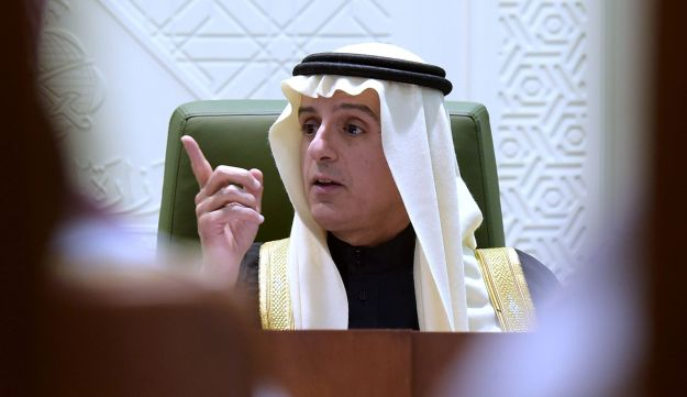 Saudi Minister of Foreign Affairs Adel al-Jubeir gestures announces kingdom is cutting ties with Iran. January 3, 2016.