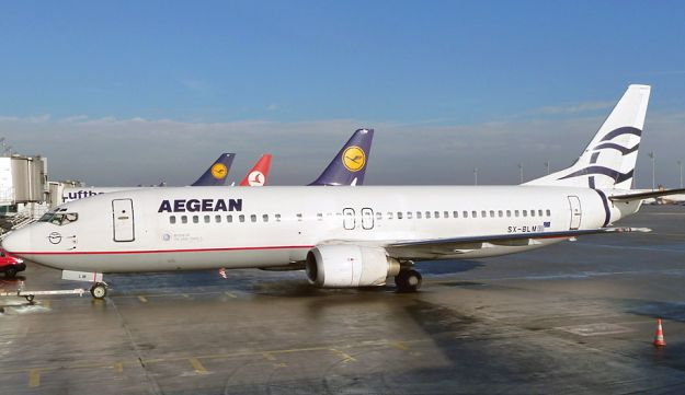 An Aegean Airlines plane on the ground in Athens.