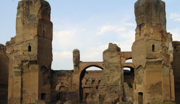 The huge baths of Caracalla, in Rome, were the second largest Roman public baths built in the city between AD 212 and 217, during the reigns of Septimius Severus and Caracalla. The baths remained in use until the 6th century.